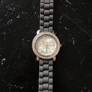Gray Silicon Watch with Jeweled Face